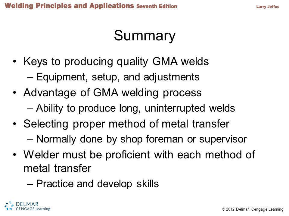 Summary Keys to producing quality GMA welds