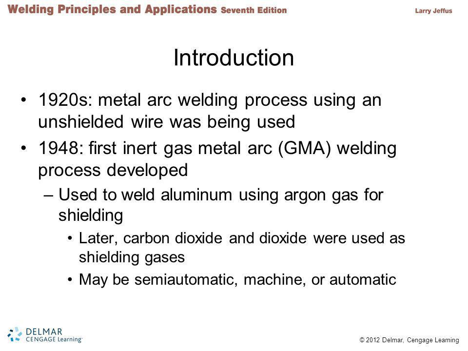 Introduction 1920s: metal arc welding process using an unshielded wire was being used.