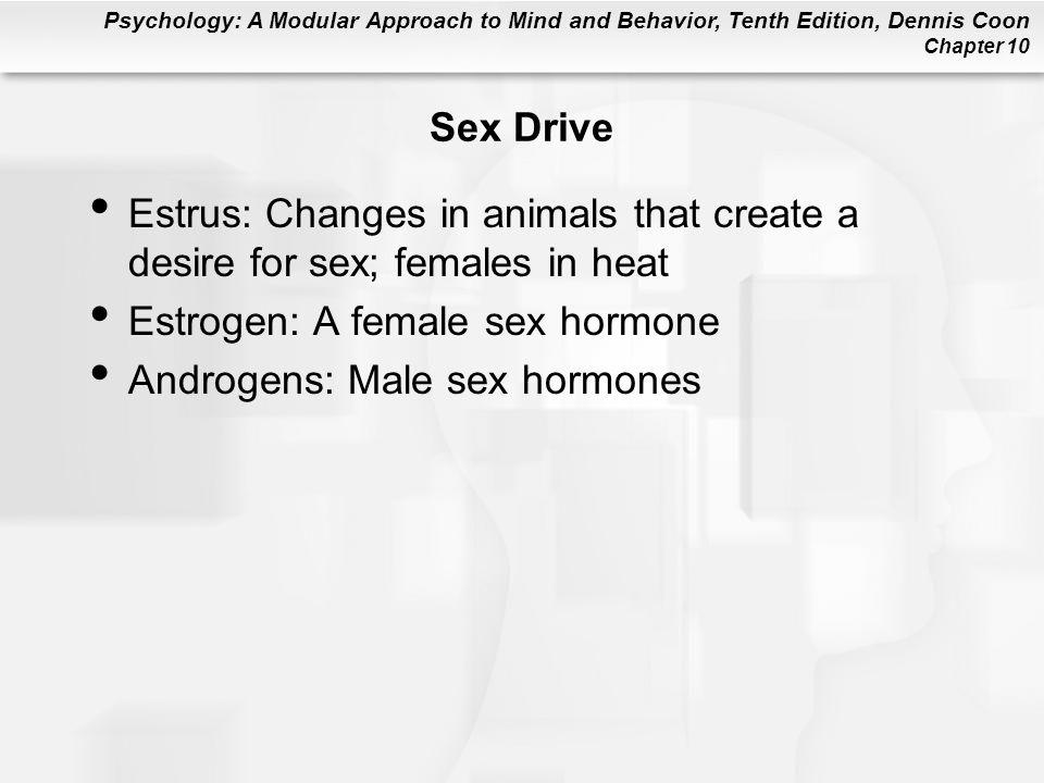 Sex Drive Estrus: Changes in animals that create a desire for sex; females in heat. Estrogen: A female sex hormone.