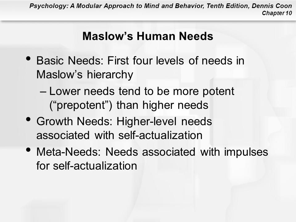 Maslow's Human Needs Basic Needs: First four levels of needs in Maslow's hierarchy.