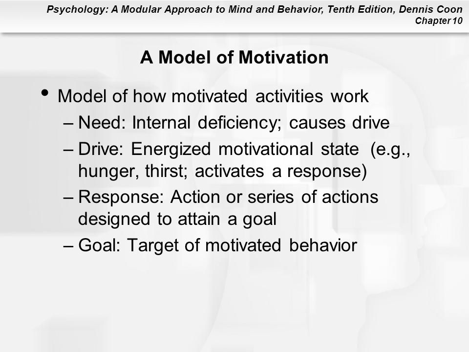 A Model of Motivation Model of how motivated activities work. Need: Internal deficiency; causes drive.