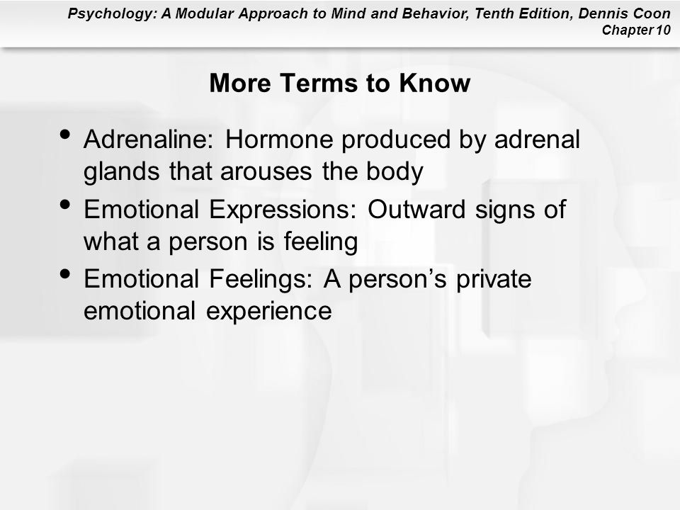 More Terms to Know Adrenaline: Hormone produced by adrenal glands that arouses the body.