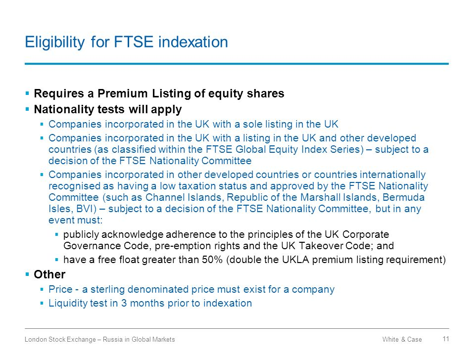 Eligibility for FTSE indexation