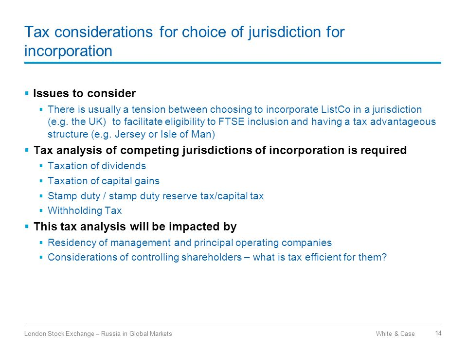 Tax considerations for choice of jurisdiction for incorporation