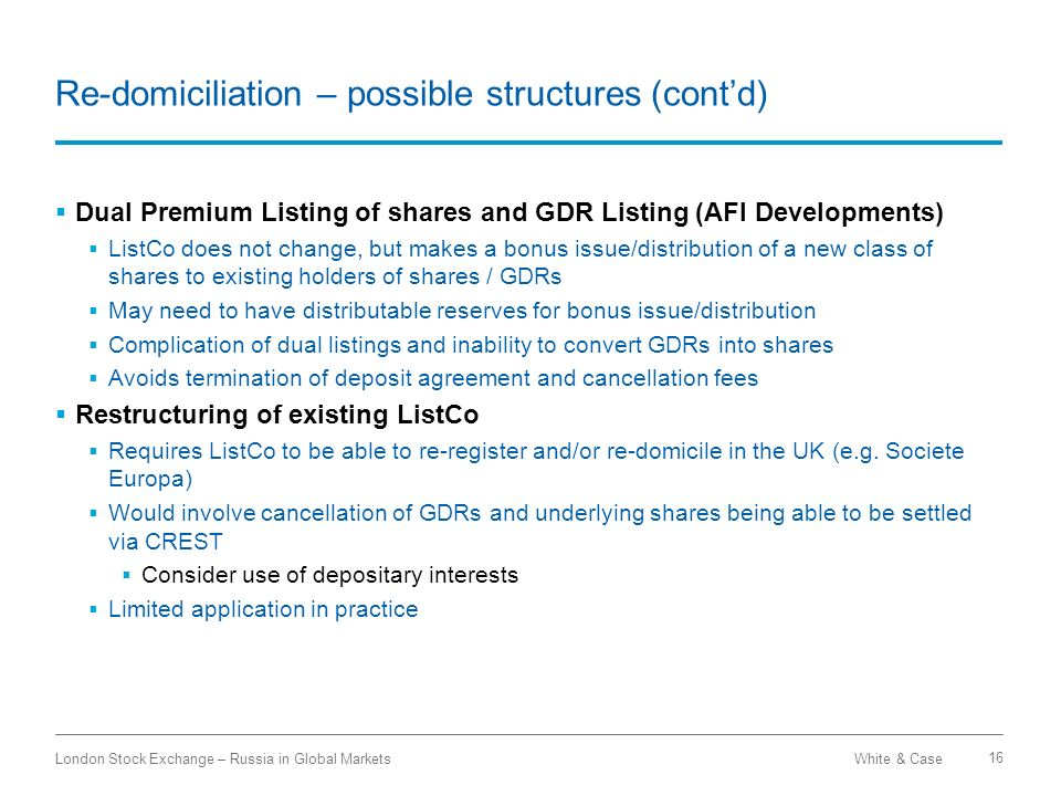 Re-domiciliation – possible structures (cont'd)