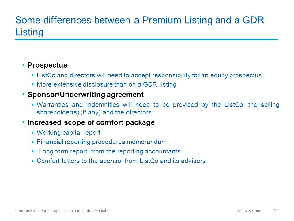 Some differences between a Premium Listing and a GDR Listing