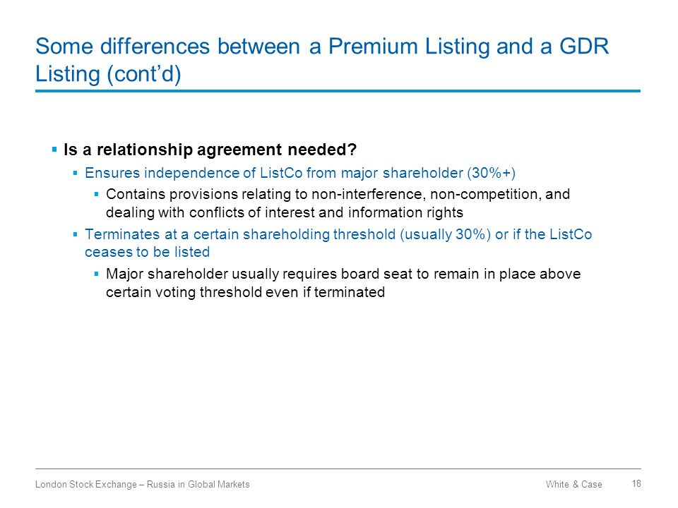 Some differences between a Premium Listing and a GDR Listing (cont'd)