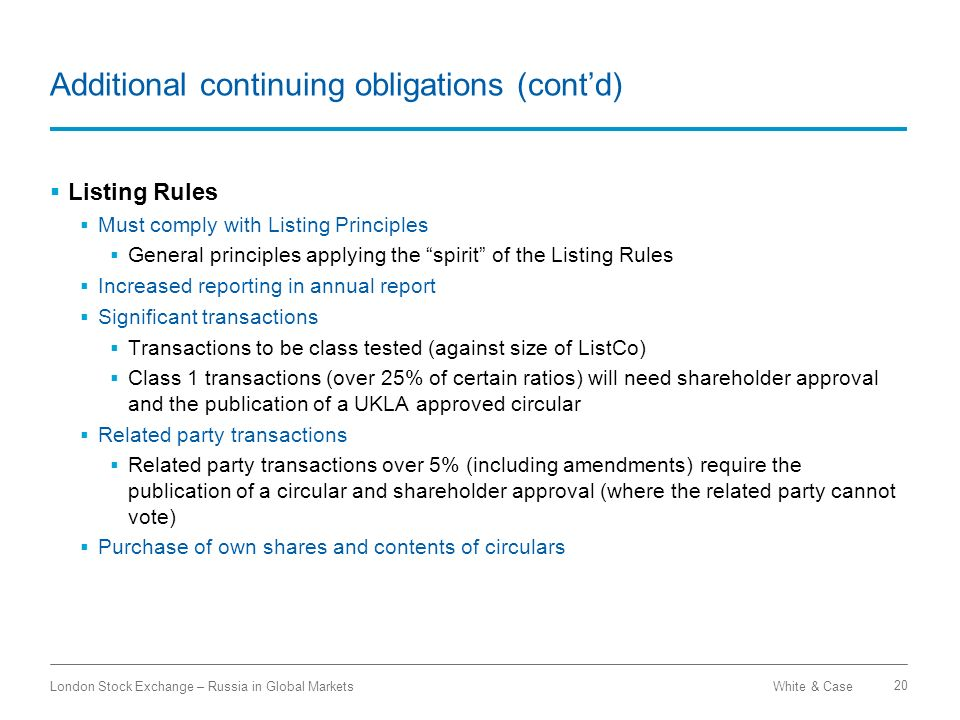 Additional continuing obligations (cont'd)
