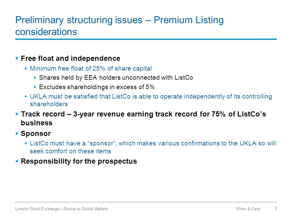 Preliminary structuring issues – Premium Listing considerations