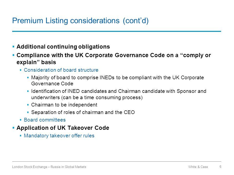 Premium Listing considerations (cont'd)
