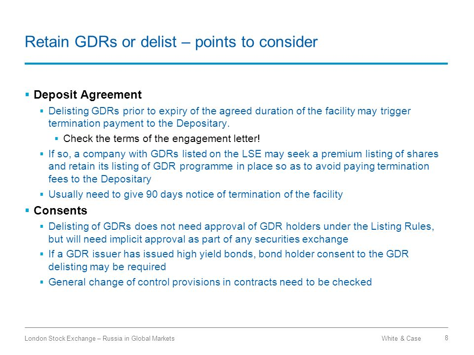 Retain GDRs or delist – points to consider