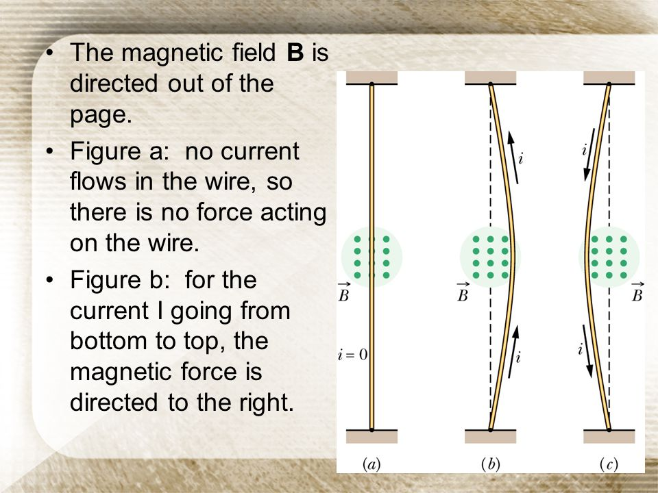 The magnetic field B is directed out of the page.