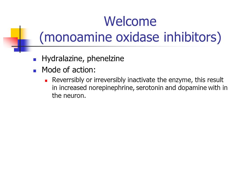 Welcome (monoamine oxidase inhibitors)