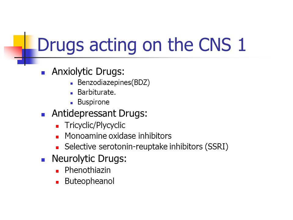 Drugs acting on the CNS 1 Anxiolytic Drugs: Antidepressant Drugs: