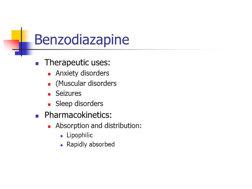 Benzodiazapine Therapeutic uses: Pharmacokinetics: Anxiety disorders