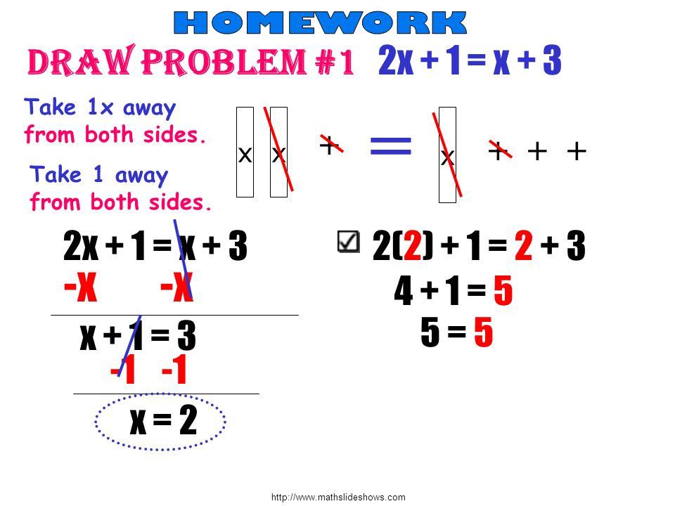 = Draw problem #1 2x + 1 = x + 3 -x -x 2x + 1 = x + 3 2(2) + 1 = 2 + 3