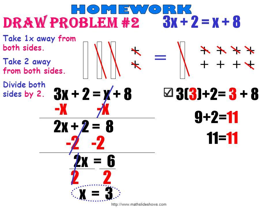 = -x -x -2 -2 2 2 Draw Problem #2 3x + 2 = x + 8 3x + 2 = x + 8