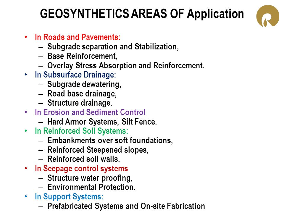 GEOSYNTHETICS AREAS OF Application