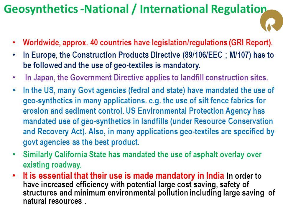 Geosynthetics -National / International Regulation