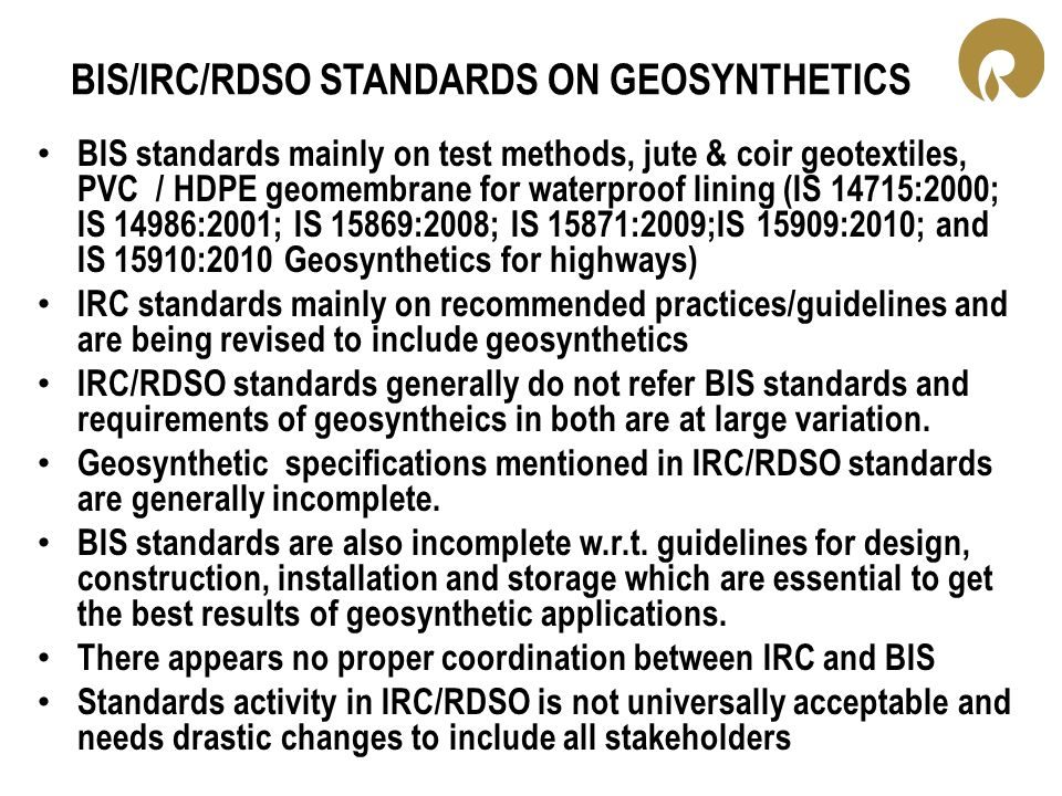 BIS/IRC/RDSO STANDARDS ON GEOSYNTHETICS