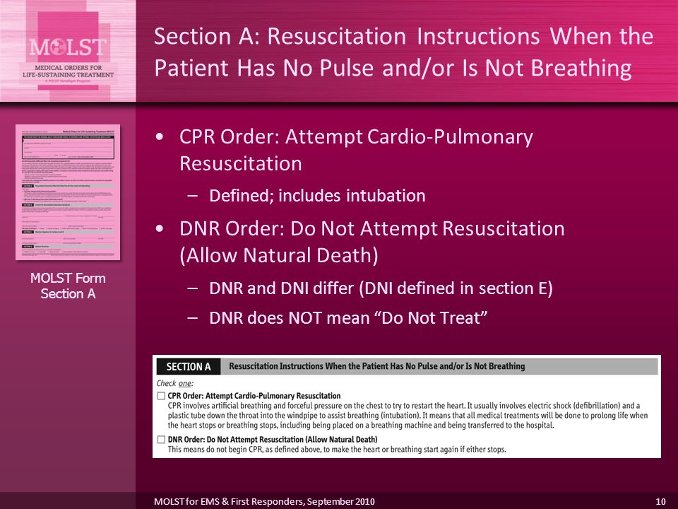 Section A: Resuscitation Instructions When the Patient Has No Pulse and/or Is Not Breathing