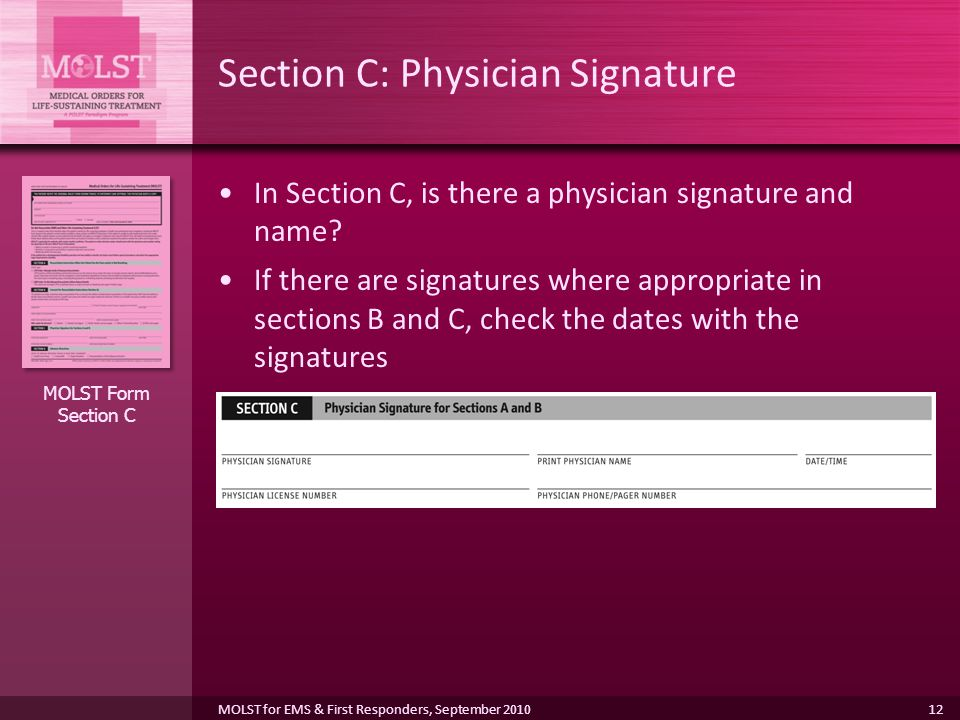 Section C: Physician Signature