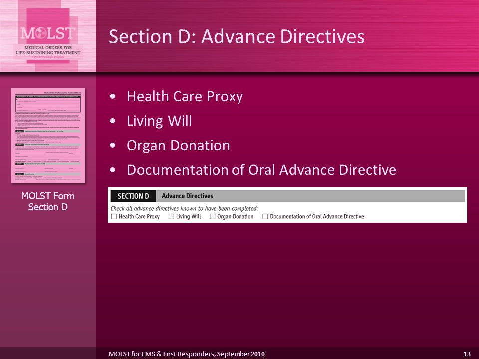 Section D: Advance Directives