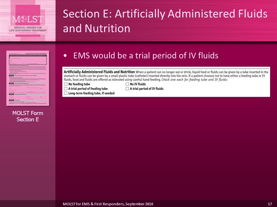 Section E: Artificially Administered Fluids and Nutrition