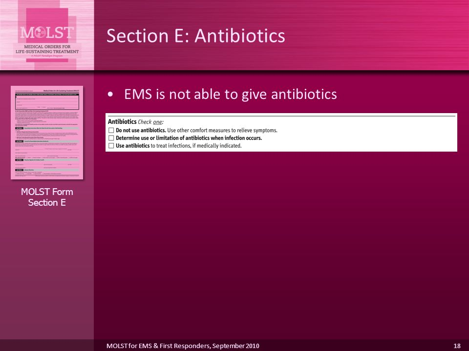 Section E: Antibiotics