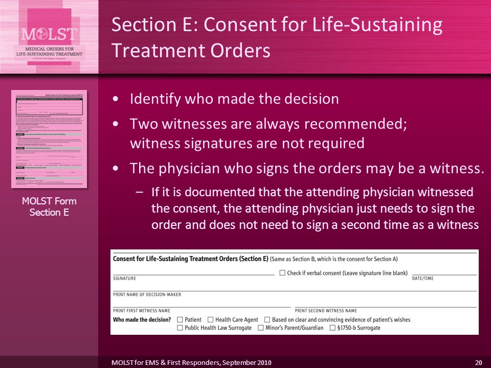 Section E: Consent for Life-Sustaining Treatment Orders