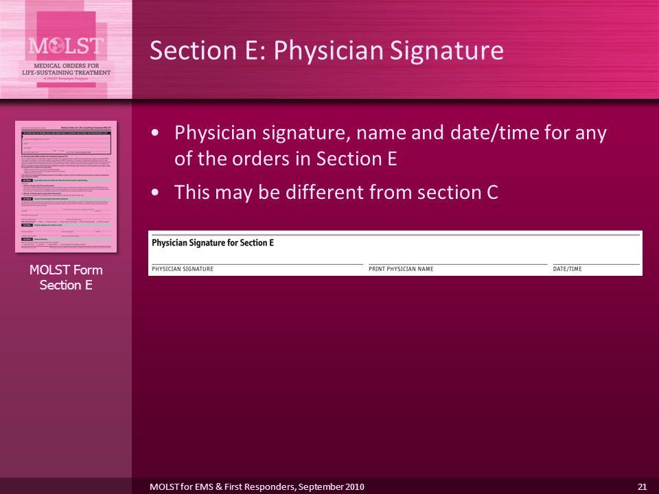 Section E: Physician Signature