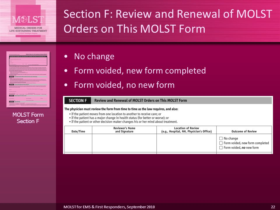 Section F: Review and Renewal of MOLST Orders on This MOLST Form