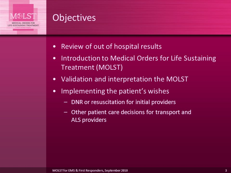 Objectives Review of out of hospital results