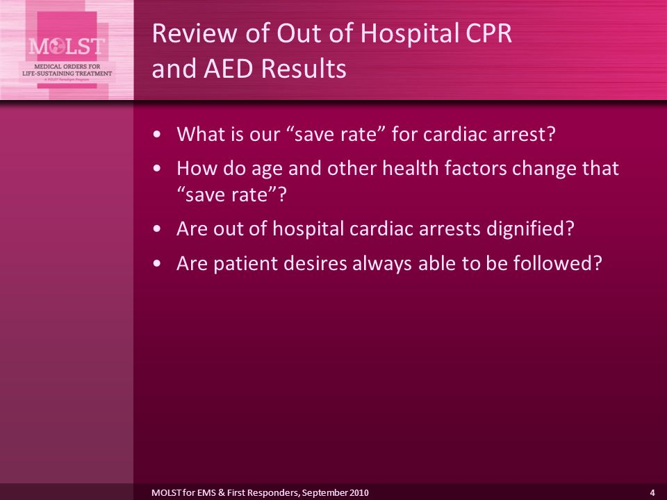 Review of Out of Hospital CPR and AED Results