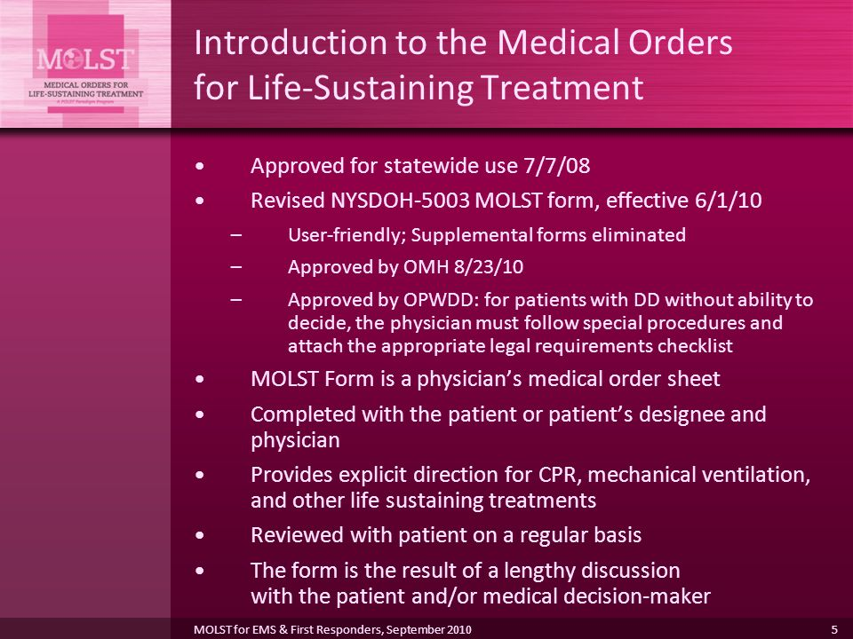 Introduction to the Medical Orders for Life-Sustaining Treatment