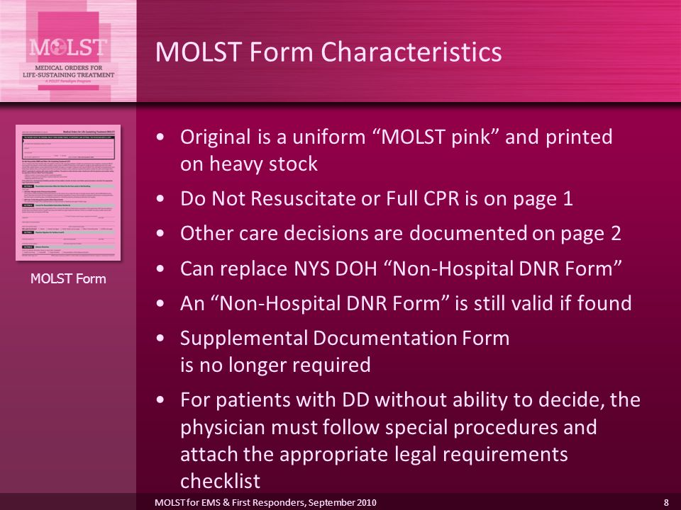 MOLST Program Overview for EMS Providers, First Responders, and ...