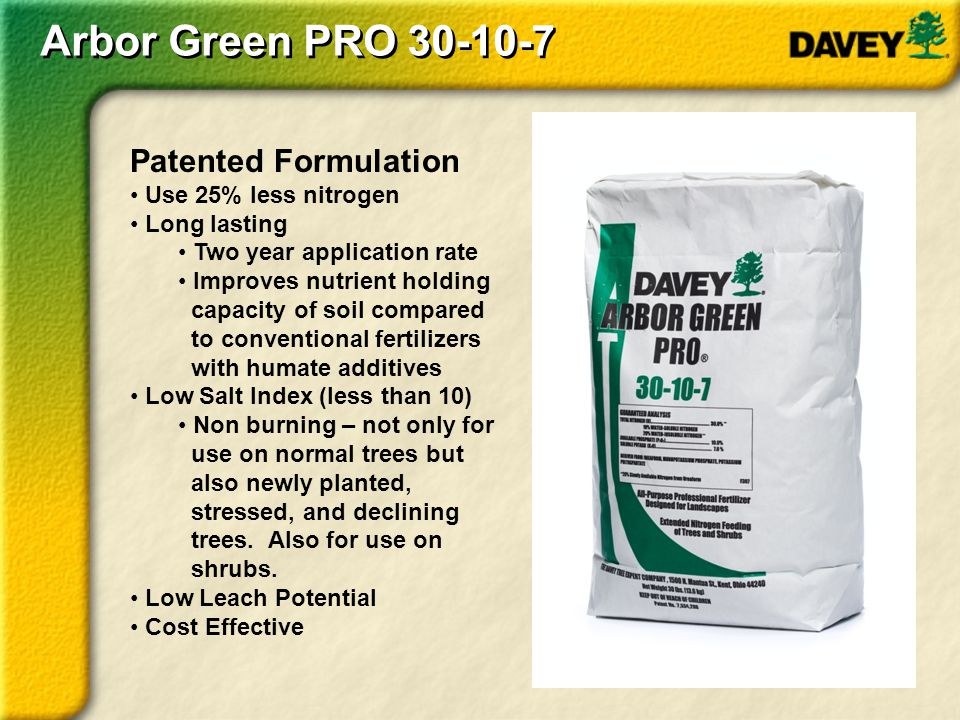 Arbor Green PRO 30-10-7 Patented Formulation Use 25% less nitrogen