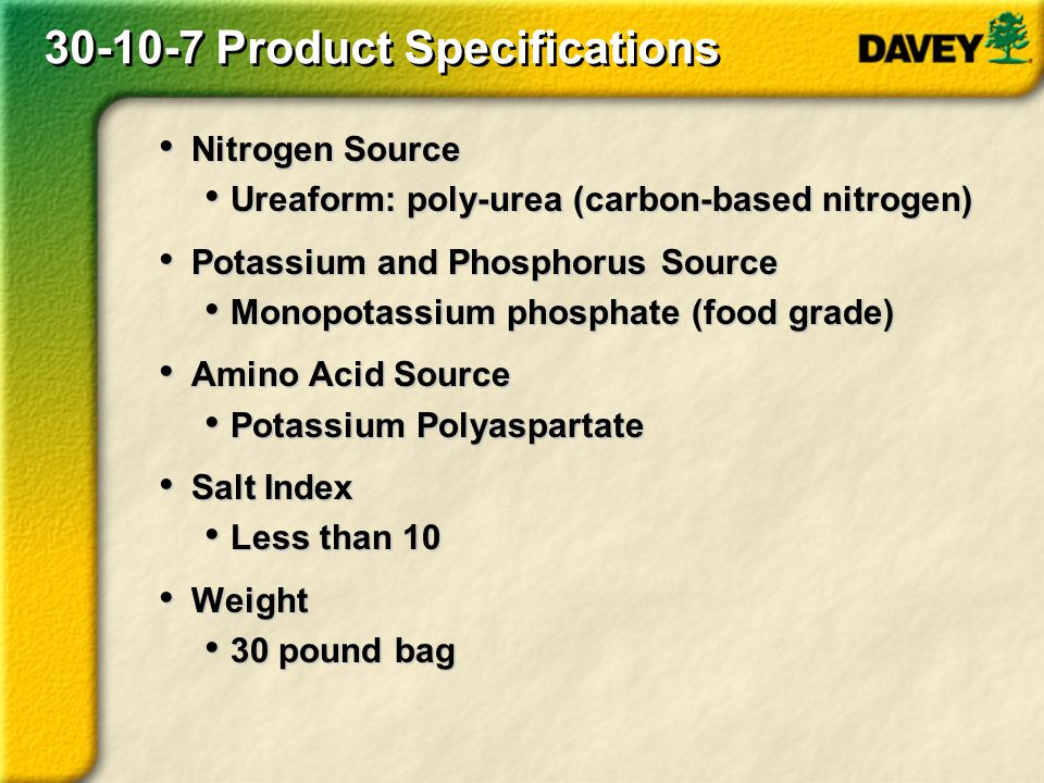 30-10-7 Product Specifications