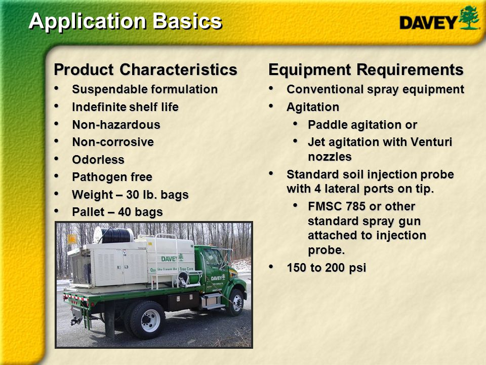 Application Basics Product Characteristics Equipment Requirements