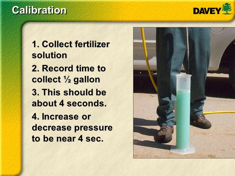Calibration 1. Collect fertilizer solution