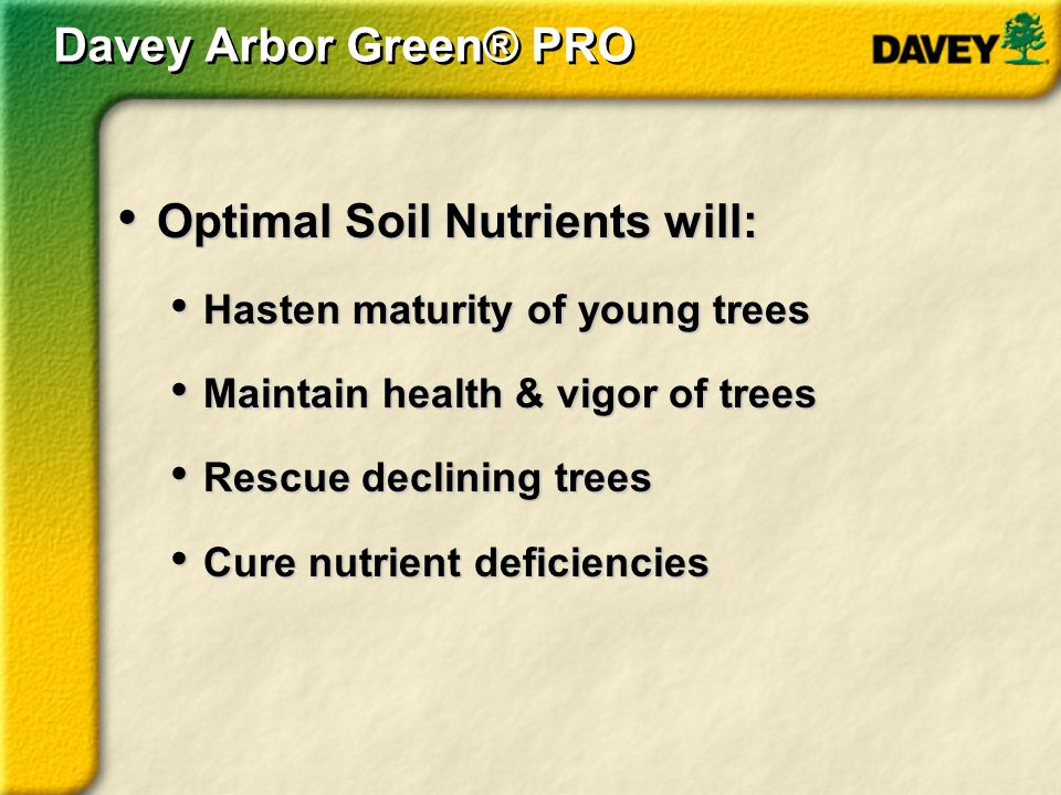 Optimal Soil Nutrients will: