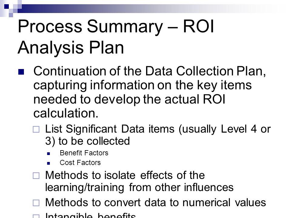 Process Summary – ROI Analysis Plan
