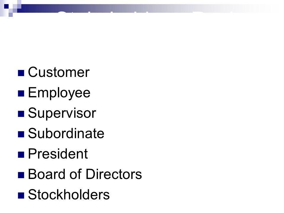 Stakeholders: Review Customer Employee Supervisor Subordinate