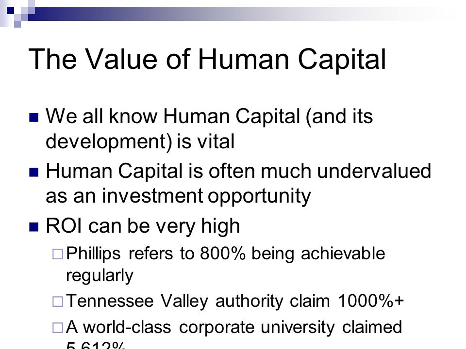 The Value of Human Capital