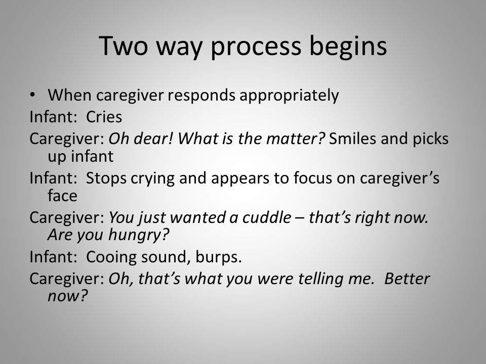 Two way process begins When caregiver responds appropriately