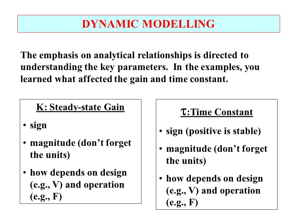 :Time Constant DYNAMIC MODELLING