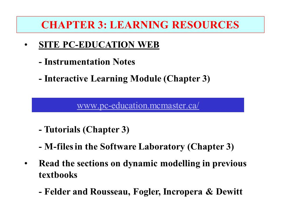 CHAPTER 3: LEARNING RESOURCES
