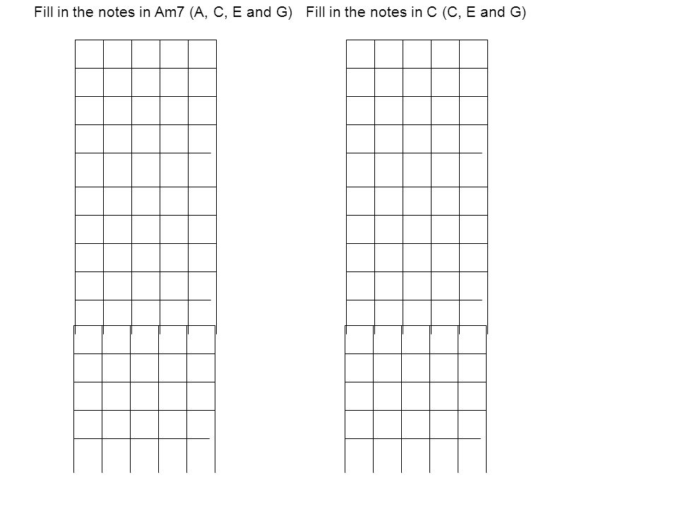 Fill in the notes in Am7 (A, C, E and G) Fill in the notes in C (C, E and G)