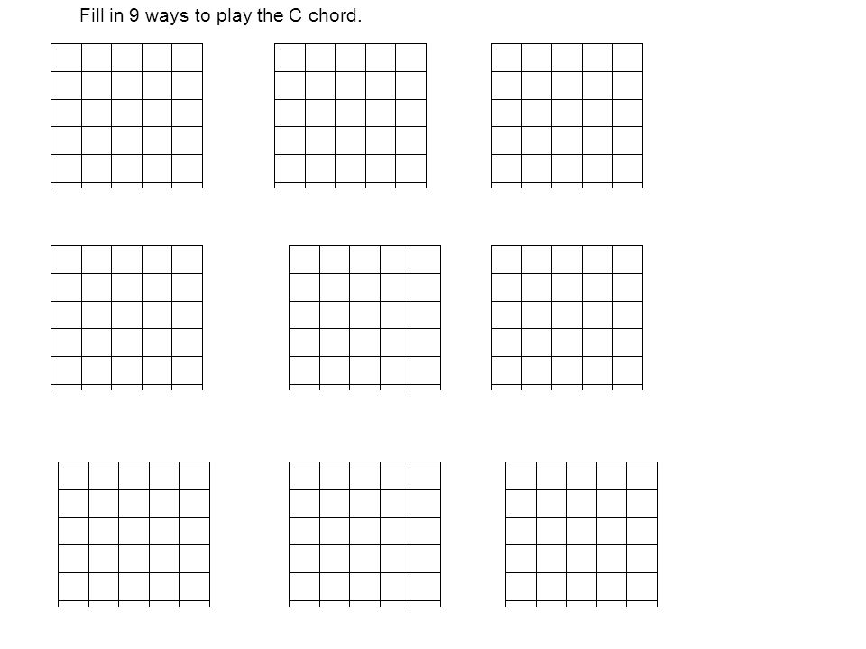 Fill in 9 ways to play the C chord.