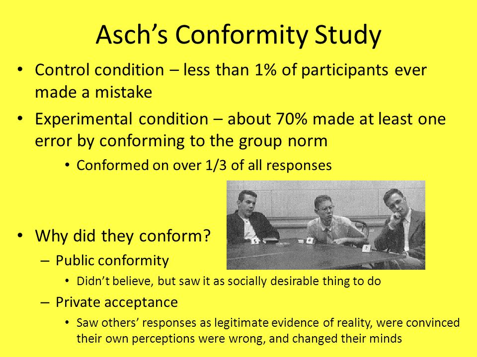 solomon e asch s opinions and social Solomon asch studied conformity in famous experiment in 1950s  imaging  techniques help scientists look at the basis for principles of social psychology in  the brain  we show that a deviation from the group opinion is regarded by the  brain as a punishment, said  e-mail to a friend e-mail to a friend.
